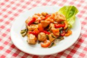 Meat with vegetables on plate — Stock Photo