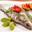 Grilled fish with asparagus — Stock Photo #69877599