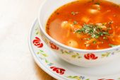 Tomato soup with vegetables and meat — Stock Photo