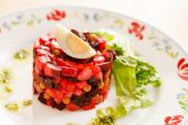 Beetroot salad with egg — Stock Photo