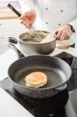Chef making pancake — Stock Photo