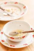 Empty plates with spoon — Stock Photo