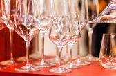 Empty wine glasses on  table — Stock Photo