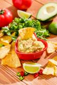 Mexican guacamole with nachos — Stock Photo