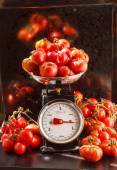 Fresh vegetables on scales — Stock Photo
