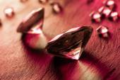 Different diamonds with red light — Foto de Stock