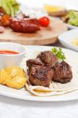 Meat with vegetables dishes — Stock Photo