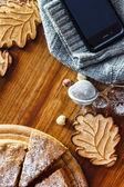 Autumn cake with cookies — Stock Photo