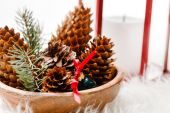 Christmas decorative cones — Stock Photo