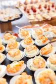 Canapes with shrimps on table — Stock Photo