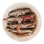 Oily sardines with onion — Stock Photo