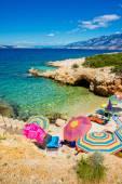Beach scene in Pag, Adriatic sea — Stock Photo