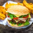 Burger and french fries — Stock Photo #57528741