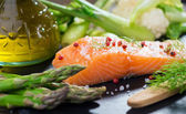 Fresh salmon fillet with vegetable — Stock Photo