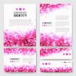 Templates set with sparkling pink circles — Stock Vector