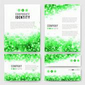 Templates set with green sparkling circles — Stock Vector