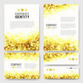 Templates set with yellow sparkling circles — Stock Vector