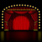 Stage with red curtain — Stock Vector