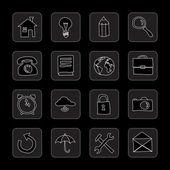 Iconos planos dibujados a mano — Vector de stock