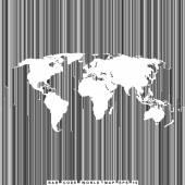 Bar code line world map — Stock Vector