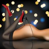 Pin-up in stockings and shoes — Stock Vector