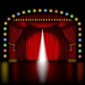 Stage with opening red curtain — Vettoriale Stock