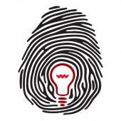 Light bulb fingerprint — Stock Vector