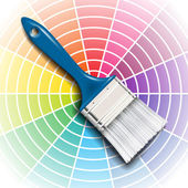 Paint brush and color wheel — Stock Vector