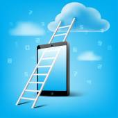 Ladder to cloud through smart phone — Stock Vector