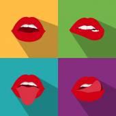 Pop art woman lips — Vector de stock