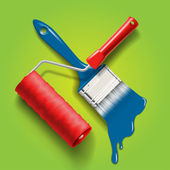 Paint brush and roller — Vecteur
