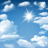 Blue Sky Sunny Cloudscape — Stock Vector