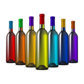 Color Glass Wine Bottles — Stockvektor