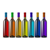 Color Glass Wine Bottles — Vettoriale Stock