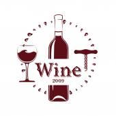 Wine Bottle, Glass and corkscrew — Stock Vector