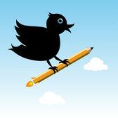 Bird with pencil rocket — Vetor de Stock