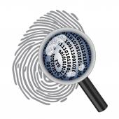 Finger print with magnifying glass — Vector de stock