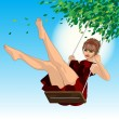 Girl on a swing — Stock Vector #65751275