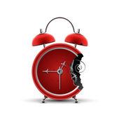 Bitten red clock — Stock Vector