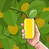 Lemon Drink in Hand — Stock Vector
