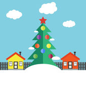Christmas winter landscape — Stock Vector