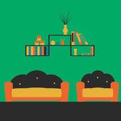 Living room interior with furniture — Vector de stock