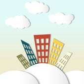 Paper houses and clouds — Stock Vector