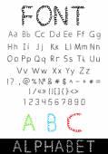 Vektor-Schrift: Alphabet und Zahlen — Stockvektor