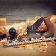 Wood planer and shavings — Stock Photo #54955635