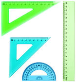 Plastic ruler, protractor, triangle — Stock Photo