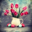Tulip flowers with Easter eggs — Stock Photo #61786373