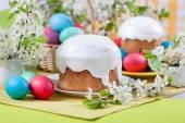 Easter cake, eggs, cherry blossoms — Stock Photo