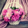 Peony flowers in basket. — Stock Photo #61799057