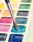 Watercolor paints and brush — Foto de Stock